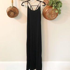 Black maxi dress with slit